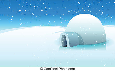 Igloo And Polar Icy Background - Illustration of a cartoon...