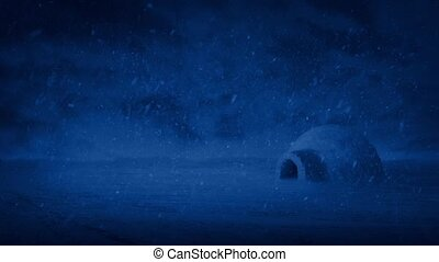 Igloo At Night In Snowstorm