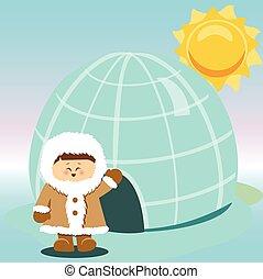 Igloo Ice Hhouse Eskimo On Isolated And boy vector illustration.