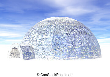 Igloo in ice on blue sky background.