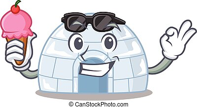 Igloo mascot cartoon design with ice cream