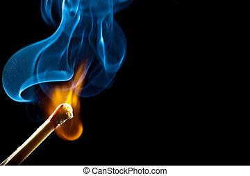 ignición, de, igual, con, humo
