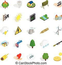 Ignitable icons set, isometric style