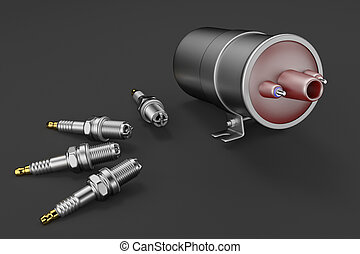 Igniter coil, Ignition and glowplug system. Igniter coil on black background. 3d rendering