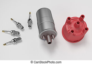 Igniter coil, Ignition and glowplug system. Igniter coil on white background. 3d rendering