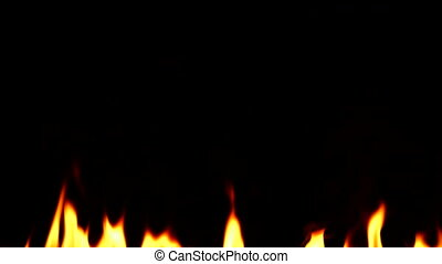Igniting fire isolated on black background. Detailed real flames tongues. Halloween, hot burning hell, inferno concept.