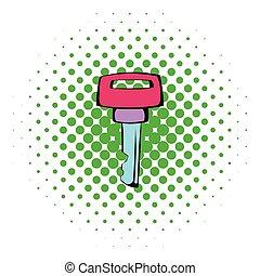 Ignition key icon, comics style