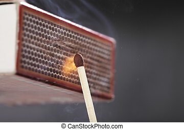 Ignition of a match - A Match ignited by rubbing the match...