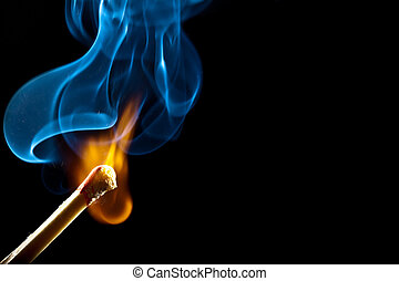 Ignition of match with smoke - Ignition of match with smoke,...