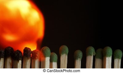 Ignition of matches in the line. Sequence of flaming...