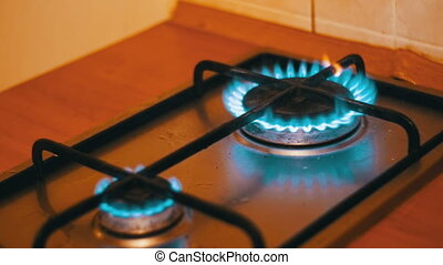 Ignition Of The Gas In The Burner On The Home Kitchen Stove