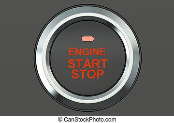 Ignition start button closeup, 3D rendering