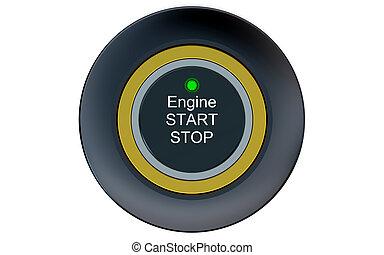 Ignition start button closeup