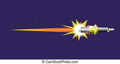 Ignition - A spark plug illustrated as a rocket ship in...