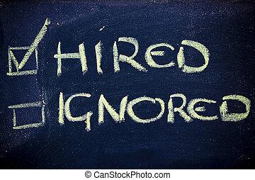 ignorado, sucesso, contratado, job:, olhar, não