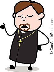 Ignorance - Cartoon Priest Religious Vector Illustration