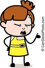 Ignorance - Cute Girl Cartoon Character Vector Illustration