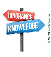 ignorance, knowledge road sign illustration design over a white background