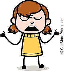 Ignorance - Retro Cartoon Girl Teen Vector Illustration
