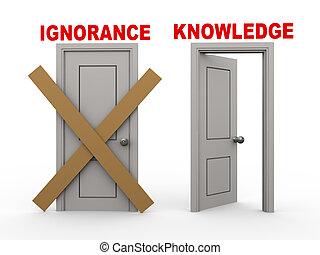 ignoranceand, 知識, ドア, 3d