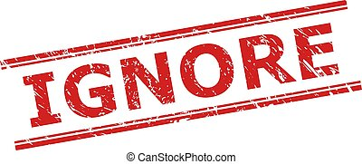 Red IGNORE stamp seal on a white background. Flat vector distress seal stamp with IGNORE text between double parallel lines. Imprint with distress texture.