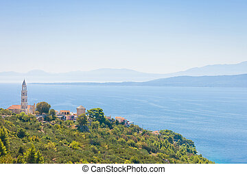igrane, dalmatien, kroatien, -, kirchenturmspitze, oben, der, berg, von, igrane