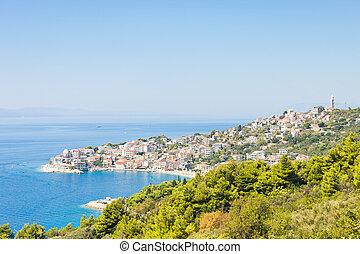 igrane, dalmatien, kroatien, -, skyline, von, der, schöne , kostal, stadt, igrane