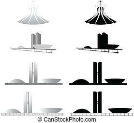 Igreja Catedral, Congresso Nacional de Brasilia - Ilustracao...