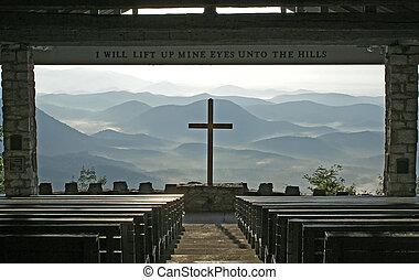 igreja, com, um, vista, de, a, montanhas.