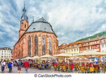igreja, de, a, espírito sagrado, em, heidelberg., pintura óleo, effect.