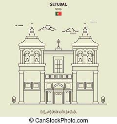 Igreja de Santa Maria da Graca in Setubal, Portugal. Landmark icon in linear style