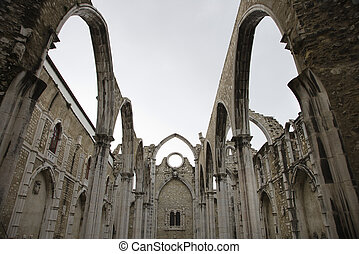 Igreja do Carmo. - Open roof of Igreja do Carmo ruins in...