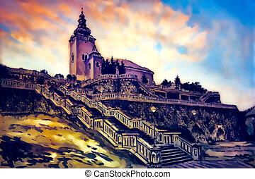 igreja, dominante, com, decorativo, histórico, escadaria, gráfico, trabalho, de, painting.
