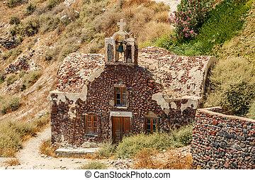 igreja grega, santorini, ruínas, oia