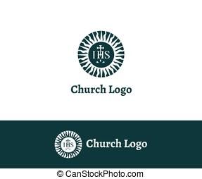 igreja, logo., cristão, symbols.