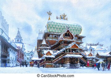 """igreja madeira, dentro, a, iconic, complexo, """"kremlin, em, izmailovo"""", aka, izmailovskiy, kremlin, em, inverno, neve, um, cultural, centro, em, moscou, russia., pintura óleo, effect."""