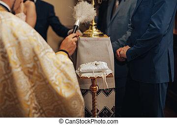 igreja, matrimony holy, anéis, casório, durante