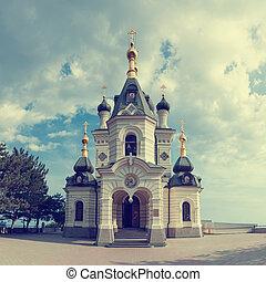 igreja ortodoxa, em, foros, com, céu, e, nuvens