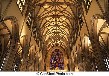 igreja trindade, cidade nova iorque, dentro, vidro manchado