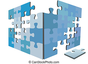 Blue jigsaw Puzzle pieces as sides or walls of 3D solution box and a piece on the floor.