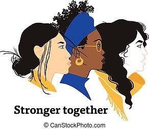 igual, everyone., juntos., más fuerte, feminismo, solidarity., niñas, derechos