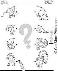 igual, mitades, de, animal, caracteres, juego, color, libro