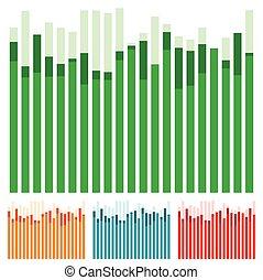 igualada, barras, barra, w/, gráfico, aleatorio, -, traslapo, alturas, gráfico, eq