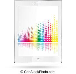 igualada, líneas, colorido, computadora personal tableta