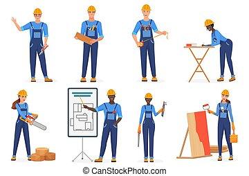 igualdad, caracteres, trabajadores, azul, work., vector, racial, set., constructores, idea, construcción, rotura, stereotypes., arquitectos, caricatura, plano, reparadores, mujeres, jumpsuits, hardhats., uniforme, ingenieros