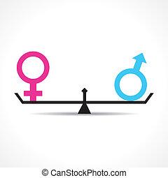 igualdad, concepto, macho, hembra