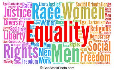 igualdad, concepto, palabra, nube