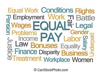 igualdad de salario, palabra, nube