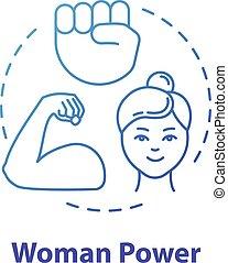 igualdad, feminista, rgb, delgado, icon., potencia, azul, ...