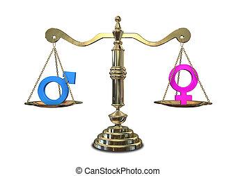 igualdad, género, escala, el balancear
